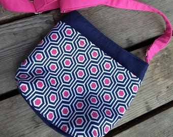 Crossbody bag, navy blue and hexagon bag, blue and pink bag, navy blue and fuchsia pink crossbody bag, navy blue and pink and mint bag