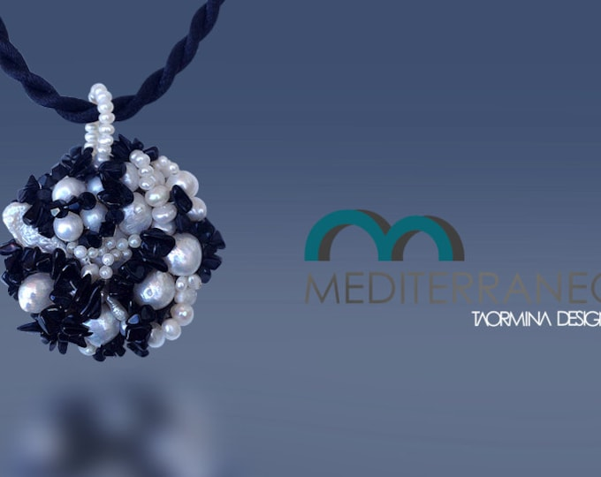 Pearl and Black Onyx Medallion Pendant with Silk Cords