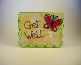 Get Well Card, Die Cut Butterfly Card, Take Care, Get Well Cards, Get Well Soon Card, Get Well, Thinking of You Card