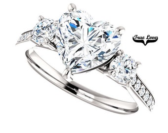 Lay Away  for Todd payment 2 of 4 Moissanite Eng.  Ring 14kt White Gold, Forever One, Wedding Ring, Heart Shaped, Side Diamonds #7802LA