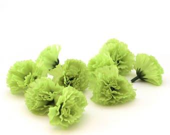 10 Lime Green Carnations - Artificial Flowers - Silk Flower Heads