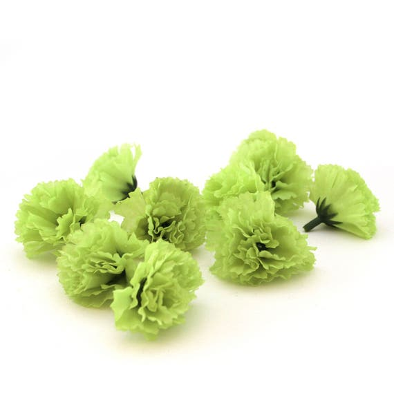 10 lime green carnations artificial flowers silk flower heads 10 lime green carnations artificial flowers silk flower heads from silkinspirations on etsy studio mightylinksfo Images