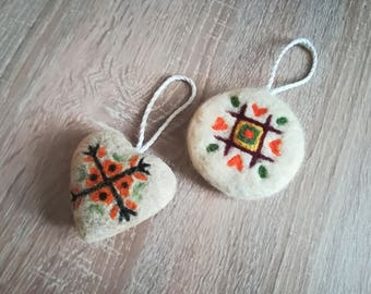 Needle Felted Ornaments with Bulgarian Еmbroidery, Christmas Ethnic Ornaments, Tree ornaments, Tradicional Bulgarian Еmbroidery Ornament,