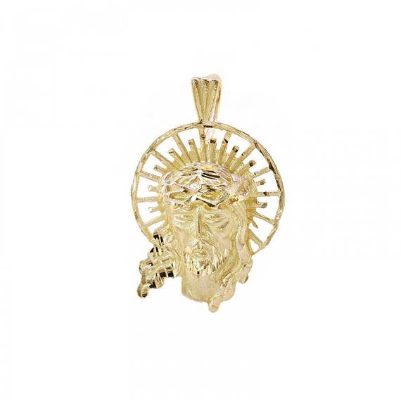 14k yellow gold diamond cut jesus head pendant aloadofball Images