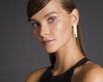 Geometric Stud Earrings, Flat Long Bar Earrings, Evening Earrings For Women, Designer Earrings, Ladies Earrings, Gold Plated Earrings
