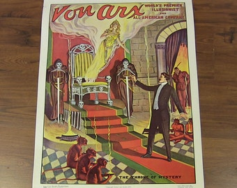"""Vintage Magic Poster """"Von Arx"""" Magician """"Throne of Mystery"""" Print"""