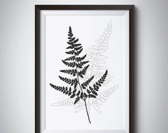 Fern Wall Art, Minimalist Fern, Scandinavian Print, Fern Art, Black Fern, Black Art, Leaves Art, Fern Leaf, Printable Fern Black White print
