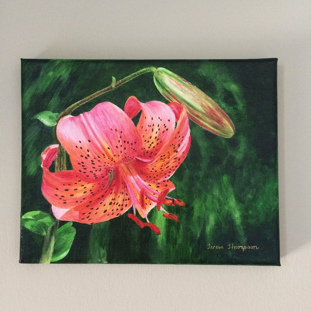 Coral Daylily Flower Original Acrylic Painting Lily Painting