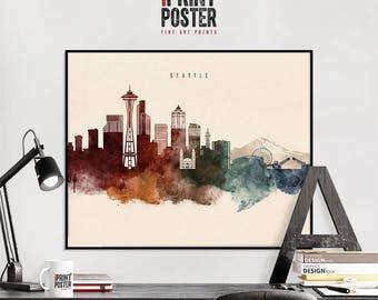 Seattle art print, Seattle poster, Seattle wall art, Seattle skyline watercolour print, travel poster, home decor, gift, iPrintPoster