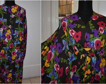 Vtg HAWAIIAN MuuMuu DRESS Caftan Aloha Floral Kaftan Tropical Nightgown Dress