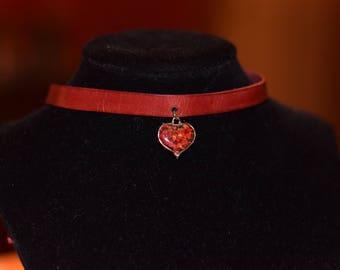 Choker real flowers Heart Locket necklace