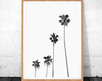 Palm Tree Print, Black And White Prints, Digital Download, Minimalist Art, Palm Tree Art, Modern Art, Tropical Art Decor, Palm Tree Decor
