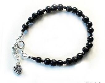 Black Onyx Bracelet, Root Chakra Jewelry, Onyx and Sterling Silver - B2014-01