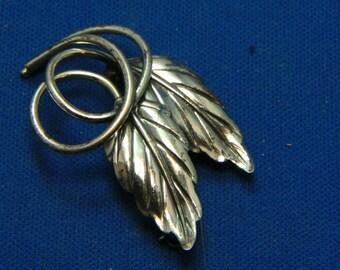 Vintage Danecraft Sterling Silver Leaf Pin Brooch