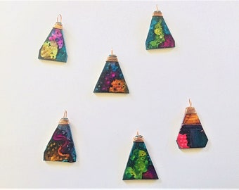 Art Deco Pendant Necklace Polymer Clay Jewelry - Bright and Colorful Boho Pendants on Long Leather Cord Necklace - Mom Gift for Her Birthday