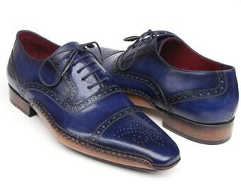Paul Parkman Men's Captoe Navy Blue Oxfords (ID#5032-NAVY)