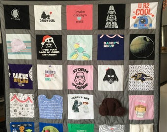 Baby clothes Quilt, Memory quilt, Custom quilt using baby clothes, Repurposed & Upcycled Baby Clothing Quilt DEPOSIT ONLY(TOTAL 250)