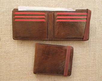 Leather bifold wallet, handmade minimalist wallet, thin wallet, slim wallet, with elastic band
