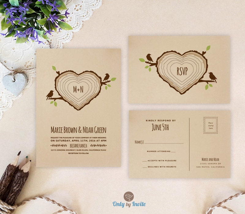 Heart Shaped Tree Stump Wedding Invitation With RSVP Rustic