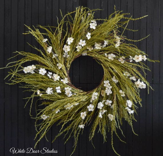 Rustic Grass and White Flower Front Door Wreath