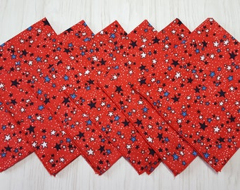 4th of July Cloth Napkins Stars on Red Patriotic Lunch Dinner Set of 6