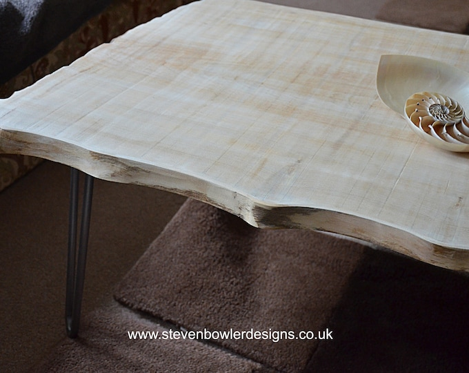 Sleek & Stylish Scandinavian Coastal Style Coffee Table in our white wash Driftwood Effect Finish with Elegant Matt Silver Hairpin Legs
