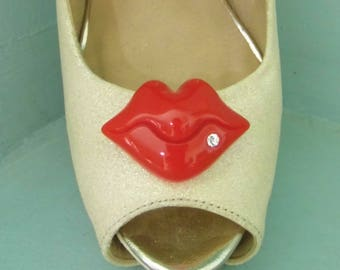 Quirky Red Lips with Diamante Shoe clips