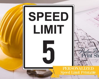 Personalized Speed Limit Printable Construction Party Sign - Speed Limit Construction Printable - Personalized Construction Printable Sign
