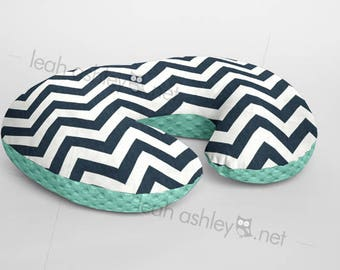 Boppy® Cover, Nursing Pillow Cover - Navy Chevron MINKY with Mint MINKY Dot or MINKY Smooth - Choose Your Minky Type - BC2