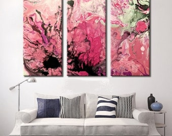 Triptych, 5 Piece Canvas Print, Pink Abstract Art, Abstract Art, Hot Pink Art Print, Pink Art, Pink Painting,Print, Abstract Painting, Pour