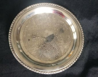 Vintage Round Silver Drink Tray