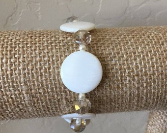 White Crystal Bracelet, Shell Bracelet, Stretch Bracelet, Small-Med Fits 6-7 inch wrist