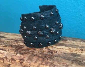 Forest Green Leather Wrap Cuff with Gunmetal Studs and Spots