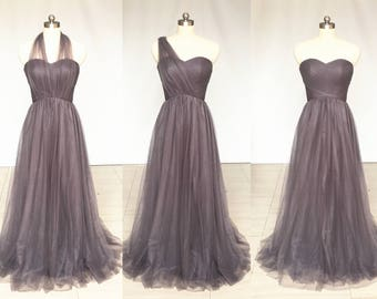 Grey Sweetheart Chiffon Tulle Long Convertible Bridesmaid Dress