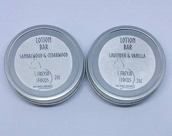 Lotion Bar-Natural Handmade-Choose Lavender/Vanilla or Sandalwood/Cedarwood (great for men)