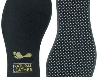 Black leather upper Shoe & Boot Insoles full length