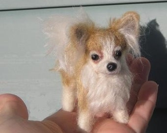 Custom Pet Portrait / Needle Felted Sculpture of your pet / Cute / poseable/ example long coated Chihuahua
