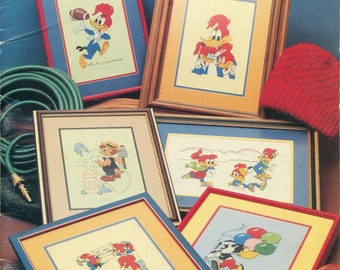1980s Woody Woodpecker and Friends Cross Stitch Pattern Leaflet Sabra Publishing S89