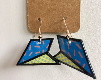 Handmade geometric memphis 80s earrings