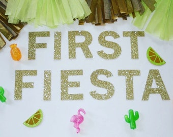 First Fiesta Glitter Banner   First Birthday, High Chair Banner, Cake Smash Banner, Fiesta Party Decor, Uno Birthday, Taco Bout a Party