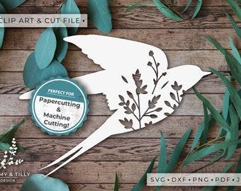 Swallow Silhouette - Clipart & Cut File - Hand Papercutting - Cricut / Silhouette - SVG DXF PNG Pdf Jpg - Kids Children Nursery