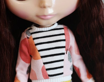 Apples for you - Long sleeved sweater with sparkly apples for Blythe - by Icantdance