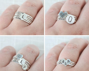 Personalized Stamped Sterling Silver Stack Ring