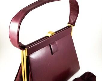 Stunning 1950's Vintage Oxblood Leather Tarkor Handbag