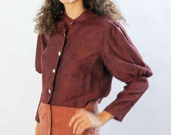 prairie revival -- vintage 80s button up blouse with dramatic sleeves -- S