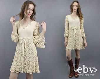 Crochet Dress Bell Sleeve Dress Hippie Dress Hippie Wedding Dress Hippy Dress 70s Mini Dress 1970s Dress Babydoll Dress Festival Dress XS S