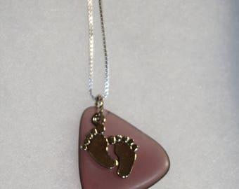 "Beach Glass Necklace Purple 18"""