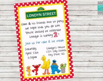 Sesame Street Birthday Party Invitation - Printable