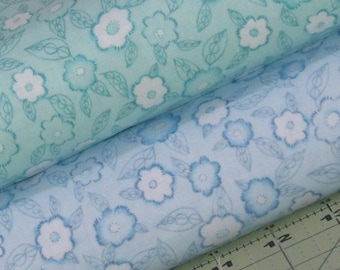 Blue and Aqua 100% Cotton Quilt Fabric Blender Bundle from Frankturs and Florishes Collection by Red Rooster Fabrics, Teal, Turquoise