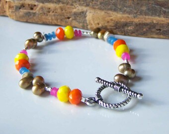 CLEARANCE Beaded Bracelet, Freshwater Pearls, Pink and Blue Jade, Yellow and Orange Glass, Beaded Bracelet, Etsy Jewelry, Etsy